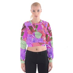 Abstract Design With Hummingbirds Women s Cropped Sweatshirt