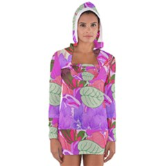 Abstract Design With Hummingbirds Women s Long Sleeve Hooded T-shirt