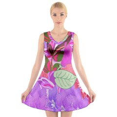 Abstract Design With Hummingbirds V Neck Sleeveless Skater Dress