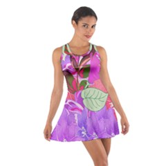 Abstract Design With Hummingbirds Cotton Racerback Dress