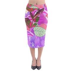Abstract Design With Hummingbirds Midi Pencil Skirt