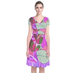 Abstract Design With Hummingbirds Short Sleeve Front Wrap Dress