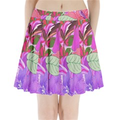 Abstract Design With Hummingbirds Pleated Mini Skirt