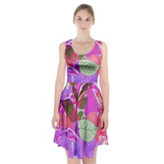 Abstract Design With Hummingbirds Racerback Midi Dress
