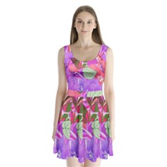Abstract Design With Hummingbirds Split Back Mini Dress