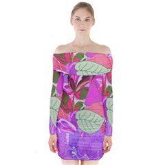 Abstract Design With Hummingbirds Long Sleeve Off Shoulder Dress