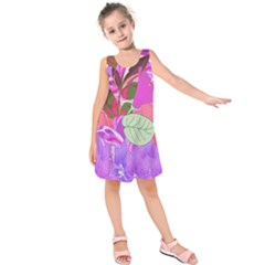Abstract Design With Hummingbirds Kids  Sleeveless Dress