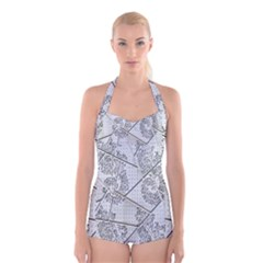 The Abstract Design On The Xuzhou Art Museum Boyleg Halter Swimsuit