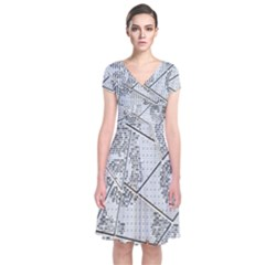 The Abstract Design On The Xuzhou Art Museum Short Sleeve Front Wrap Dress