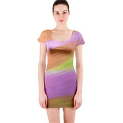 Metallic Brush Strokes Paint Abstract Texture Short Sleeve Bodycon Dress