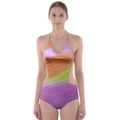 Metallic Brush Strokes Paint Abstract Texture Cut-Out One Piece Swimsuit