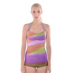 Metallic Brush Strokes Paint Abstract Texture Boyleg Halter Swimsuit