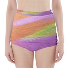 Metallic Brush Strokes Paint Abstract Texture High Waisted Bikini Bottoms