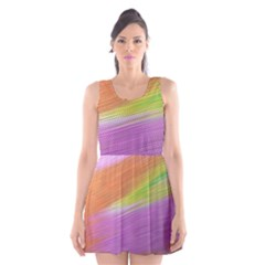 Metallic Brush Strokes Paint Abstract Texture Scoop Neck Skater Dress