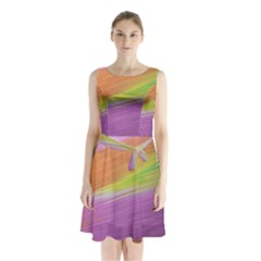 Metallic Brush Strokes Paint Abstract Texture Sleeveless Chiffon Waist Tie Dress