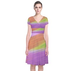 Metallic Brush Strokes Paint Abstract Texture Short Sleeve Front Wrap Dress
