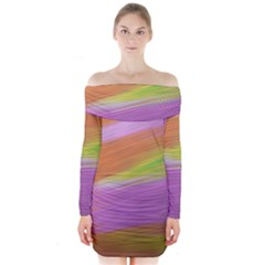 Metallic Brush Strokes Paint Abstract Texture Long Sleeve Off Shoulder Dress