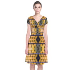 Light Steps Abstract Short Sleeve Front Wrap Dress