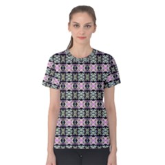 Colorful Pixelation Repeat Pattern Women s Cotton Tee