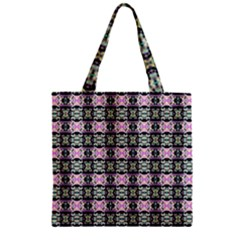 Colorful Pixelation Repeat Pattern Zipper Grocery Tote Bag