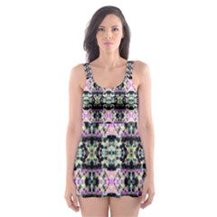 Colorful Pixelation Repeat Pattern Skater Dress Swimsuit