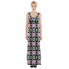 Colorful Pixelation Repeat Pattern Maxi Thigh Split Dress