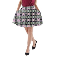 Colorful Pixelation Repeat Pattern A-Line Pocket Skirt