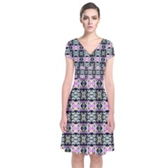 Colorful Pixelation Repeat Pattern Short Sleeve Front Wrap Dress