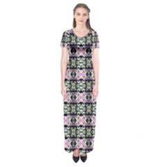 Colorful Pixelation Repeat Pattern Short Sleeve Maxi Dress
