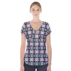 Colorful Pixelation Repeat Pattern Short Sleeve Front Detail Top