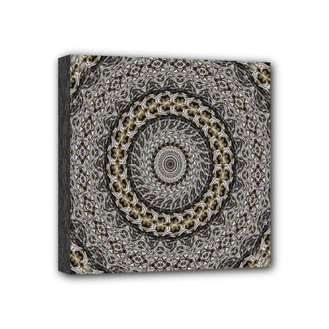 Celestial Pinwheel Of Pattern Texture And Abstract Shapes N Brown Mini Canvas 4  X 4