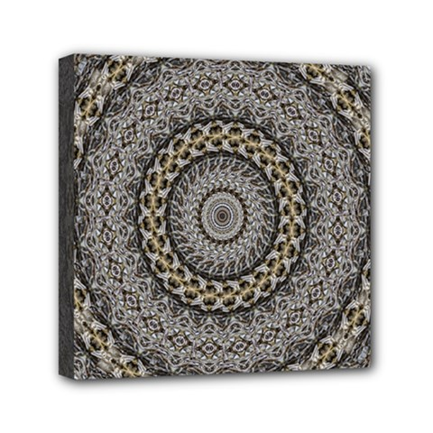 Celestial Pinwheel Of Pattern Texture And Abstract Shapes N Brown Mini Canvas 6  x 6