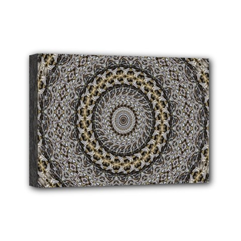 Celestial Pinwheel Of Pattern Texture And Abstract Shapes N Brown Mini Canvas 7  X 5