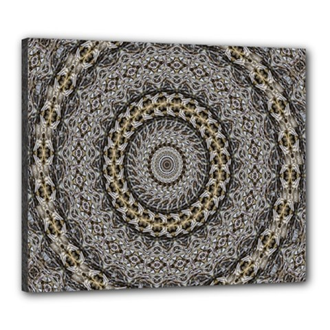 Celestial Pinwheel Of Pattern Texture And Abstract Shapes N Brown Canvas 24  x 20