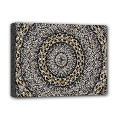 Celestial Pinwheel Of Pattern Texture And Abstract Shapes N Brown Deluxe Canvas 16  x 12