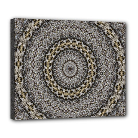 Celestial Pinwheel Of Pattern Texture And Abstract Shapes N Brown Deluxe Canvas 24  X 20