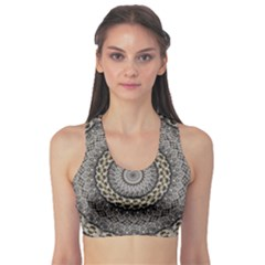 Celestial Pinwheel Of Pattern Texture And Abstract Shapes N Brown Sports Bra