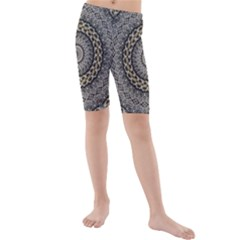 Celestial Pinwheel Of Pattern Texture And Abstract Shapes N Brown Kids  Mid Length Swim Shorts