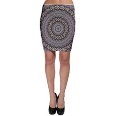 Celestial Pinwheel Of Pattern Texture And Abstract Shapes N Brown Bodycon Skirt