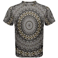 Celestial Pinwheel Of Pattern Texture And Abstract Shapes N Brown Men s Cotton Tee