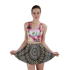 Celestial Pinwheel Of Pattern Texture And Abstract Shapes N Brown Mini Skirt