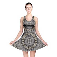 Celestial Pinwheel Of Pattern Texture And Abstract Shapes N Brown Reversible Skater Dress