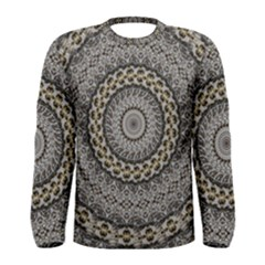 Celestial Pinwheel Of Pattern Texture And Abstract Shapes N Brown Men s Long Sleeve Tee