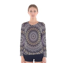 Celestial Pinwheel Of Pattern Texture And Abstract Shapes N Brown Women s Long Sleeve Tee