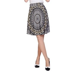 Celestial Pinwheel Of Pattern Texture And Abstract Shapes N Brown A Line Skirt