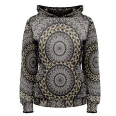 Celestial Pinwheel Of Pattern Texture And Abstract Shapes N Brown Women s Pullover Hoodie