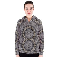 Celestial Pinwheel Of Pattern Texture And Abstract Shapes N Brown Women s Zipper Hoodie