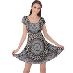 Celestial Pinwheel Of Pattern Texture And Abstract Shapes N Brown Cap Sleeve Dresses