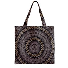 Celestial Pinwheel Of Pattern Texture And Abstract Shapes N Brown Zipper Grocery Tote Bag