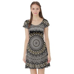 Celestial Pinwheel Of Pattern Texture And Abstract Shapes N Brown Short Sleeve Skater Dress